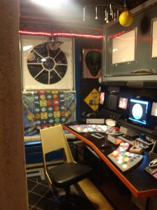 Tassoni home office is a spaceship, whose full-size command center of the Starship Enterprise is built completely from repurposed materials